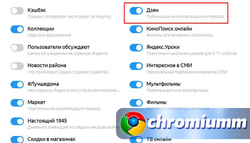 как убрать яндекс дзен из браузера google chrome