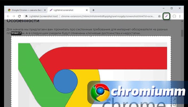 скриншот в браузере хром