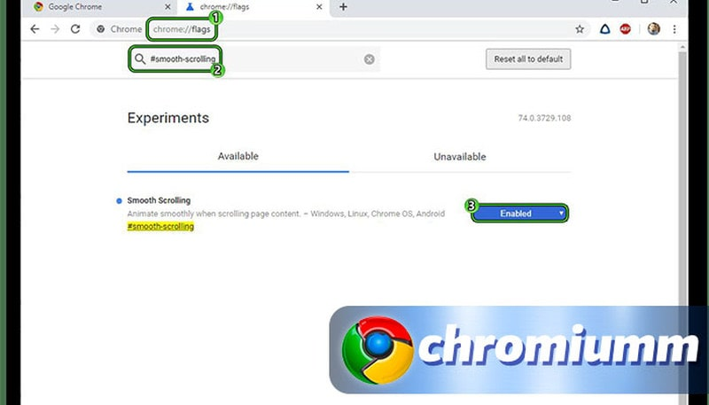 как отключить плавную прокрутку в google chrome